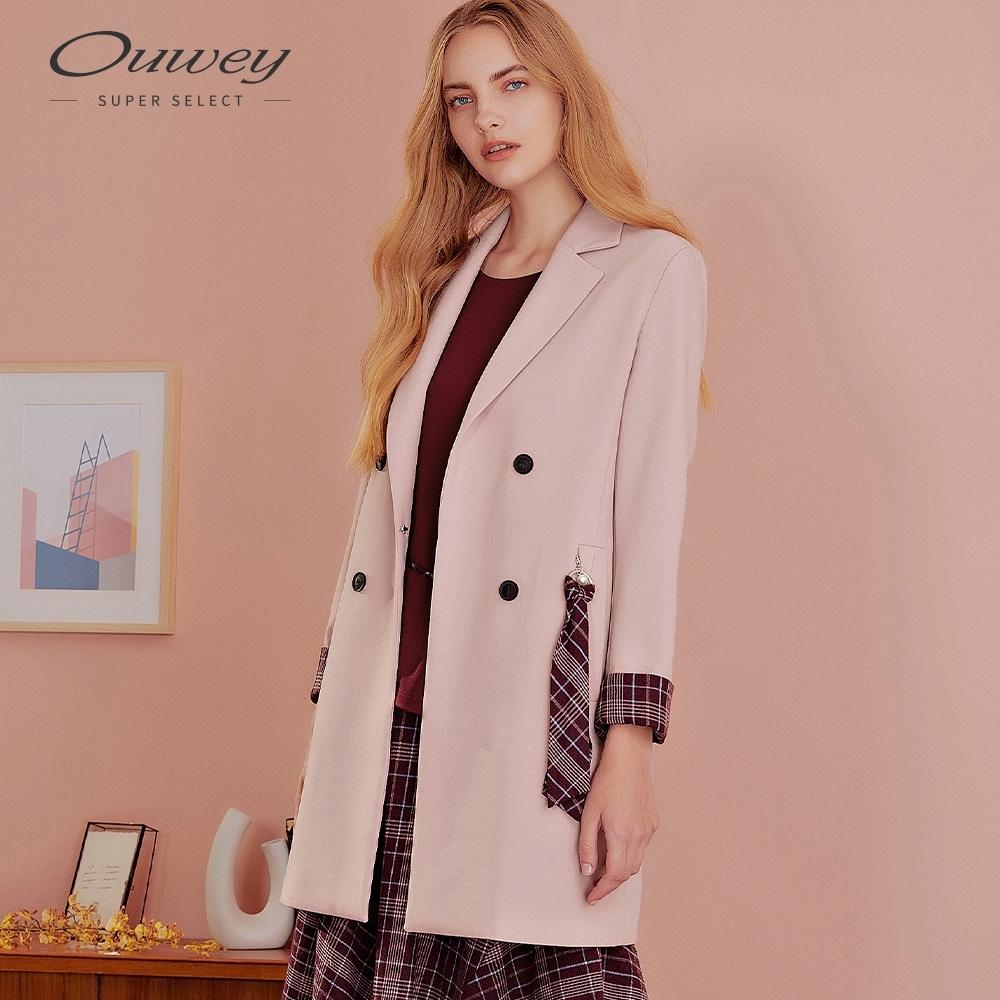 OUWEY歐薇 雙排釦造型中長版西裝外套(粉)
