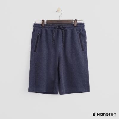 Hang Ten - 男裝 - 純色拉鍊口袋運動五分褲-藍