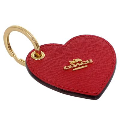 COACH紅色愛心防刮皮革單環鑰匙圈