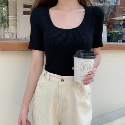 2F韓衣-簡約舒適素色造型上衣-3色(F)
