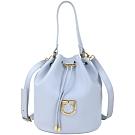 FURLA Corona 可拆萬用袋粒面皮革手提/肩背水桶包(水藍色)