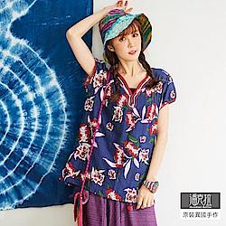 潘克拉 電繡領花卉圖案上衣-藍色