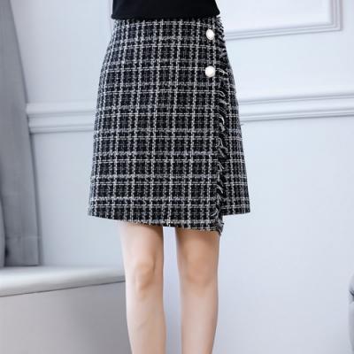 設計所在Lady-格子A字高腰包臀短裙毛呢開叉一步裙(M-2XL可選)