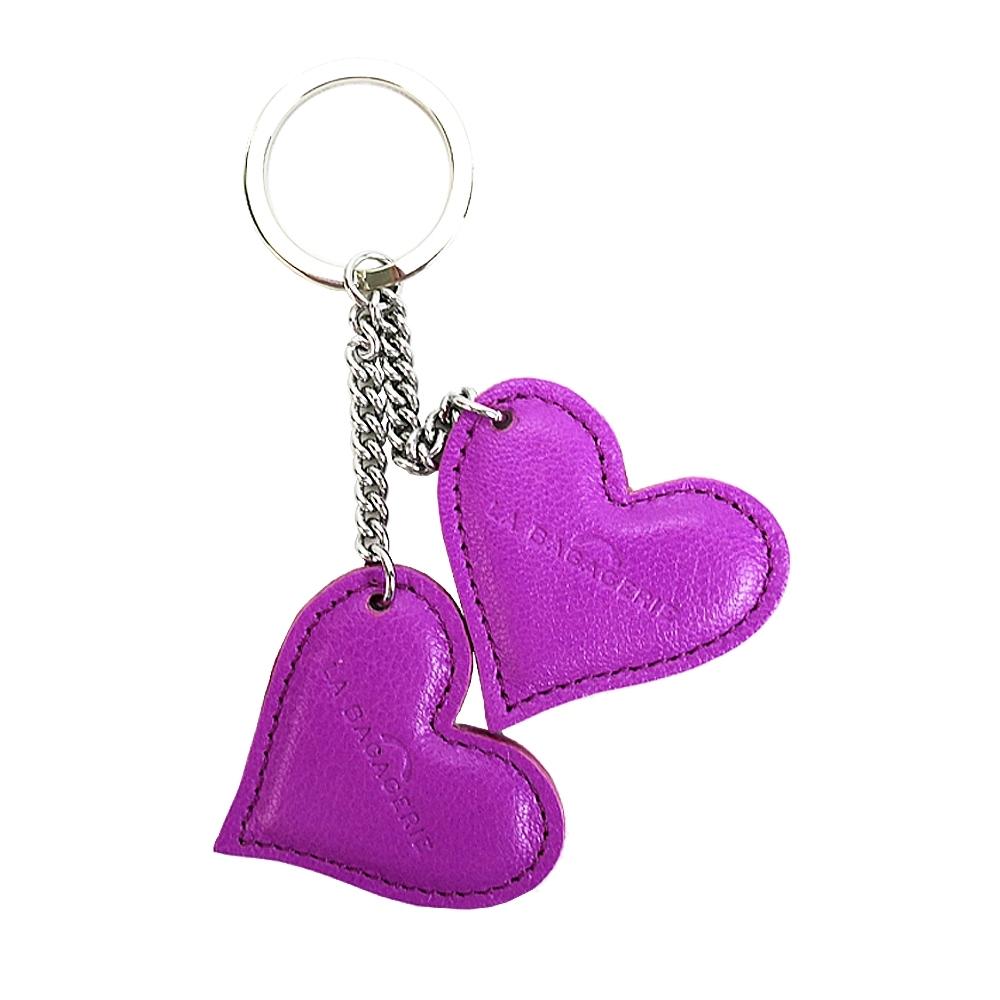 LA BAGAGERIE 牛皮雙心鑰匙圈(紫紅)