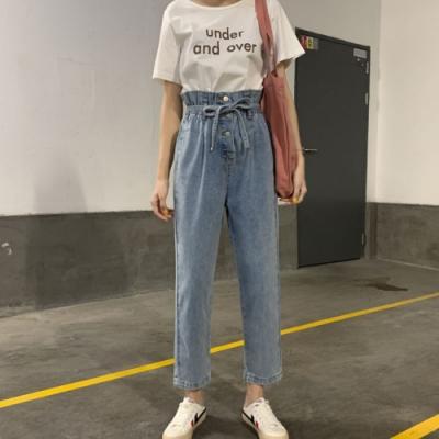 La Belleza高腰三釦鬆緊腰花苞附綁帶淺色哈倫褲牛仔褲