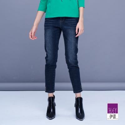 ILEY伊蕾 簡約百搭彈性直筒牛仔褲(藍)