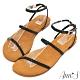 Ann'S水洗牛皮-腳踝繫帶編織平底涼鞋-黑 product thumbnail 1