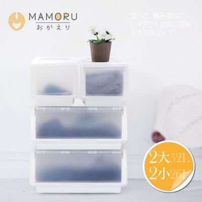 好購家居 日本亞馬遜暢銷可堆疊掀蓋收納箱52L+26L組合(2大2小)