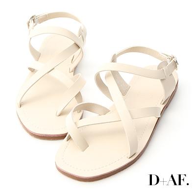 D+AF 隨性搭配.交叉套指方頭平底涼鞋*米白