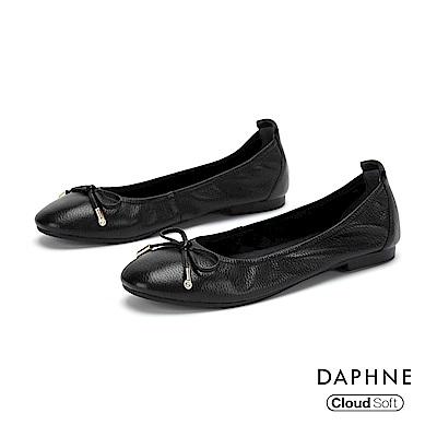 達芙妮DAPHNE 平底鞋-真皮甜美蝴蝶結平底娃娃鞋-黑