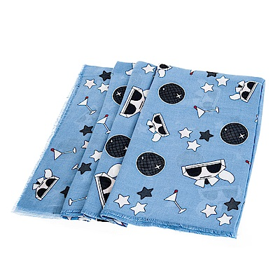 KARL LAGERFELD Q版卡爾貓咪星星造型絲巾 (藍色/140*140)