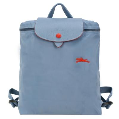 LONGCHAMP Le Pliage Collection系列刺繡摺疊後背包(霧藍)