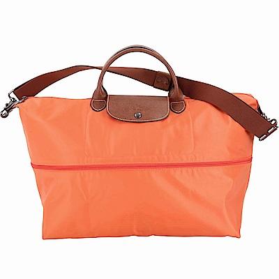 LONGCHAMP Le pliage 拉鍊伸縮尼龍兩用旅行袋(赤橙色)