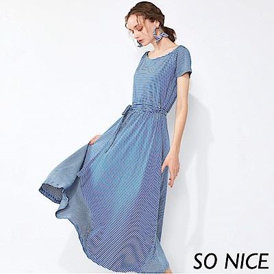 SO NICE俏麗綁結條紋長洋裝