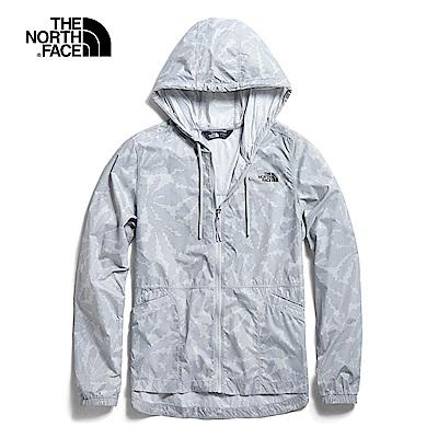 The North Face北面女款灰色印花連帽風衣外套|3V4I9YY