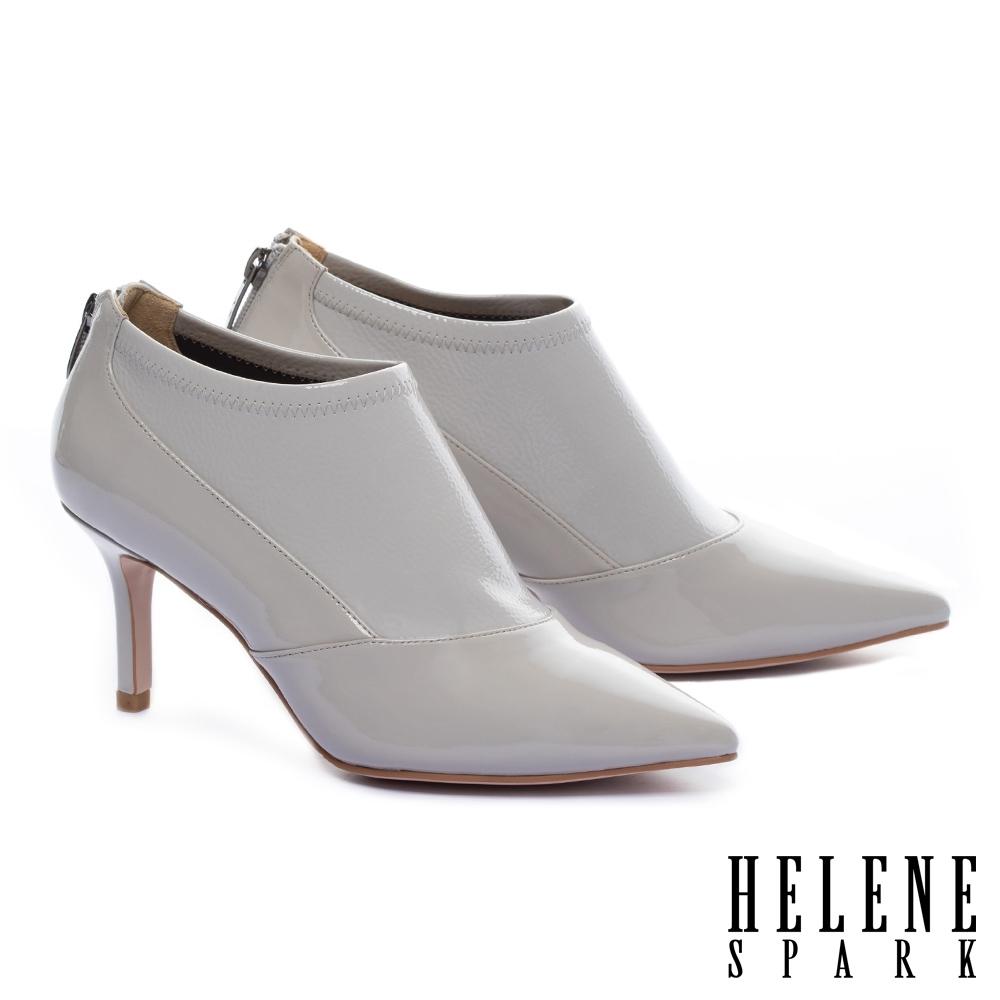 裸靴 HELENE SPARK 摩登時尚極簡異材質拼接軟漆皮尖頭高跟裸靴-白