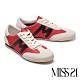 休閒鞋 MISS 21 復古色塊拼接綁帶厚底休閒鞋-紅 product thumbnail 1