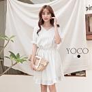 東京著衣-YOCO 簡約美學直條紋V領排釦荷葉裙襬洋裝-S.M.L(共二色)