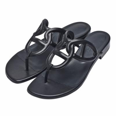 HERMES Beach經典小牛皮鏤空露趾涼鞋(黑)