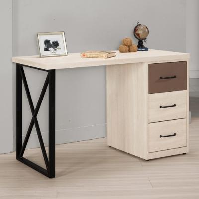Boden-比恩4尺三抽書桌/工作桌(可調整方向)-121x57x76xcm