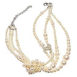 CHANEL 經典珍珠鑲嵌CC LOGO大小珍珠結造型多層項鍊(金)