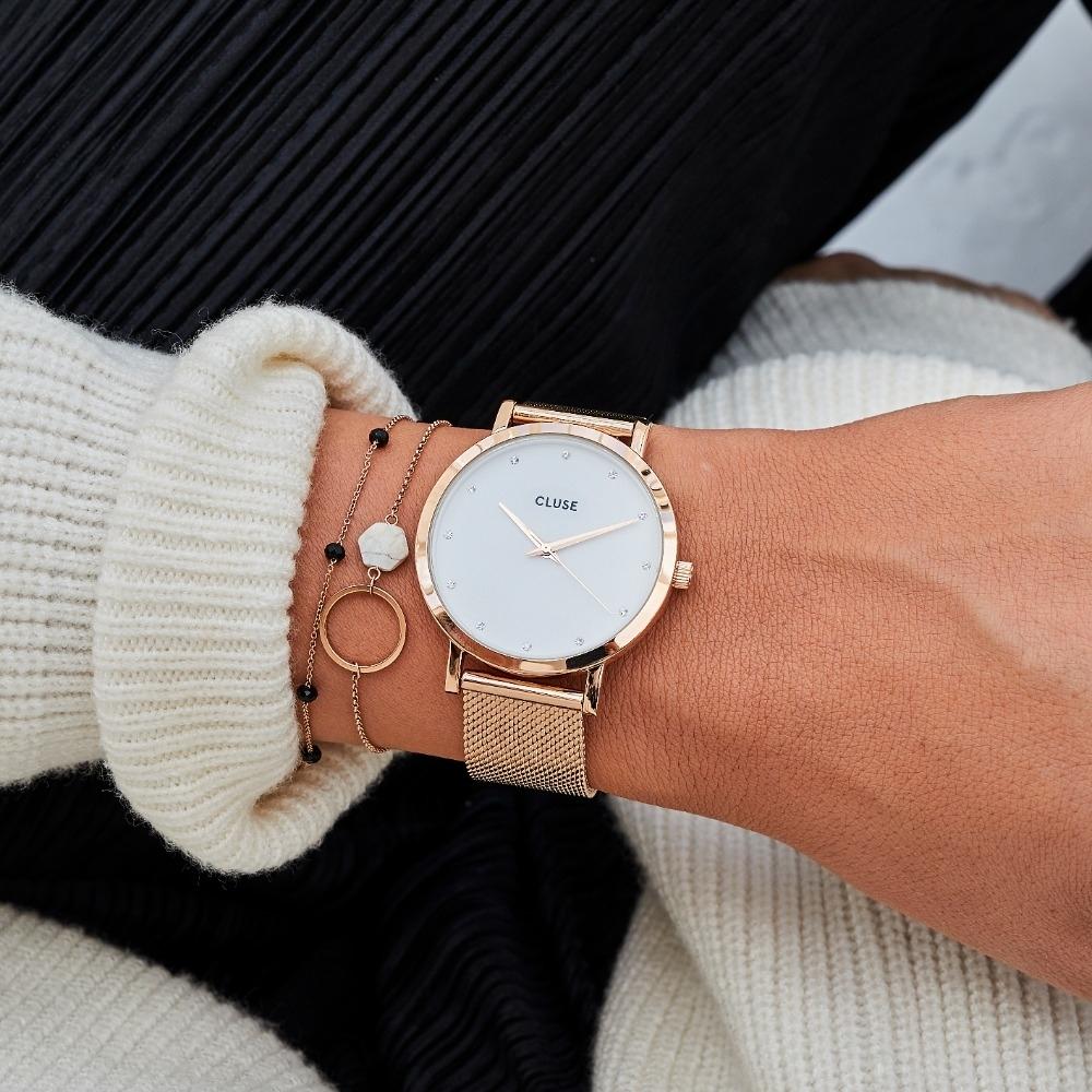 CLUSE Pavane 鑽石系列腕錶(玫瑰金框/白色錶面/玫瑰金不鏽鋼錶帶) 38mm