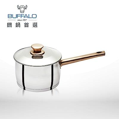 Buffalo牛頭牌 雅登金圓滿湯鍋18cm/2.79L-304不銹鋼玫瑰金(單把含鍋蓋)(快)