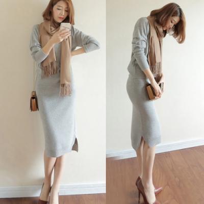 JILLI-KO 兩件套韓版CHIC質感針織套裝- 灰色