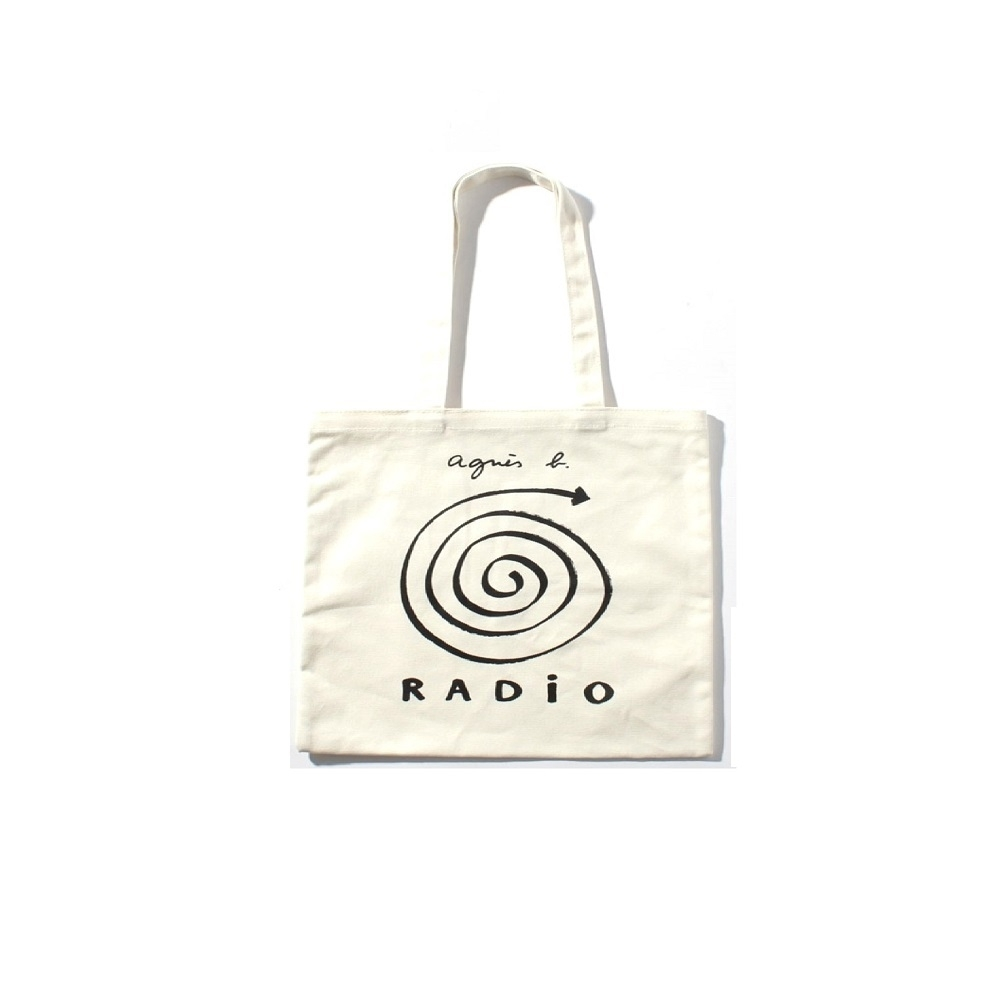 agnes b. 標誌棉質手提袋 (白)