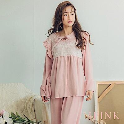 i PINK 宮廷氣質 保暖海島绒居家服睡衣套裝(粉)