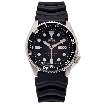 SEIKO 運動潛水機械錶(SKX007J1)-黑面x橡膠錶帶/42mm