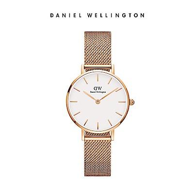 DW 手錶 官方旗艦店 28mm玫瑰金框 Classic Petite 香檳金米蘭金屬編織