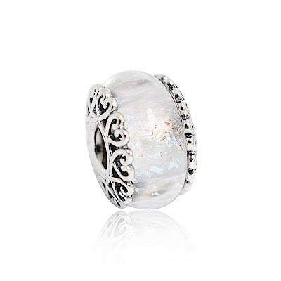 Pandora 潘朵拉 虹彩白色琉璃 純銀墜飾 串珠