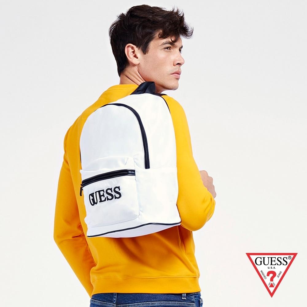 GUESS-男包-素面簡約立體刺繡LOGO後背包-白 原價2490