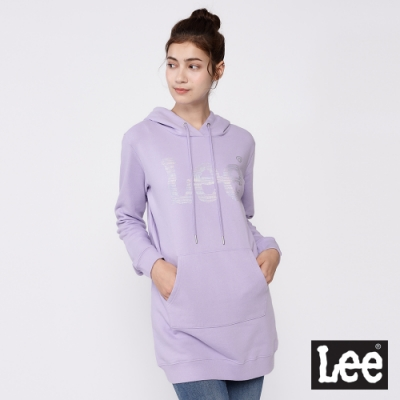 Lee 帽T 銀箔Logo 長版連帽厚T 女款 粉紫色