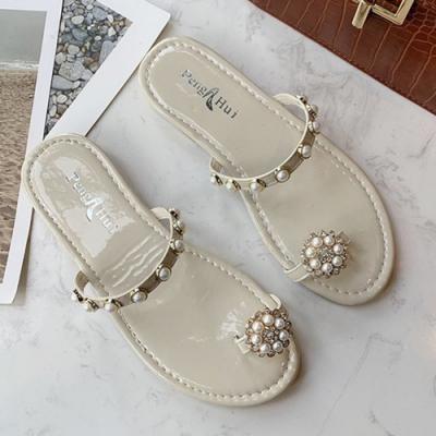 KEITH-WILL時尚鞋館 名媛華艷珍珠拖鞋-米