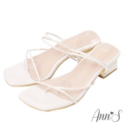 Ann'S極細線條就是性感-可兩穿方頭粗跟夾腳涼鞋-米白