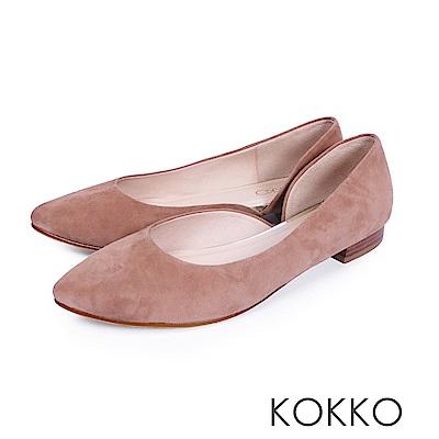 KOKKO -首爾早晨尖頭側挖空素面平底鞋-焦糖棕