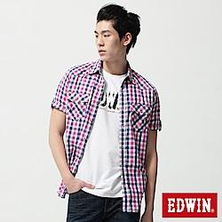 EDWIN 襯衫 竹節休閒格紋短袖襯衫-男-桃紅