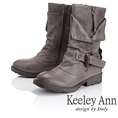 Keeley Ann 鉚釘龐克~個性環釦拉鍊層次真皮低跟中筒靴(灰色)