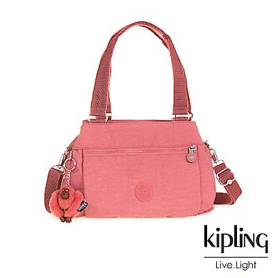 Kipling薔薇粉梯形手提側背包
