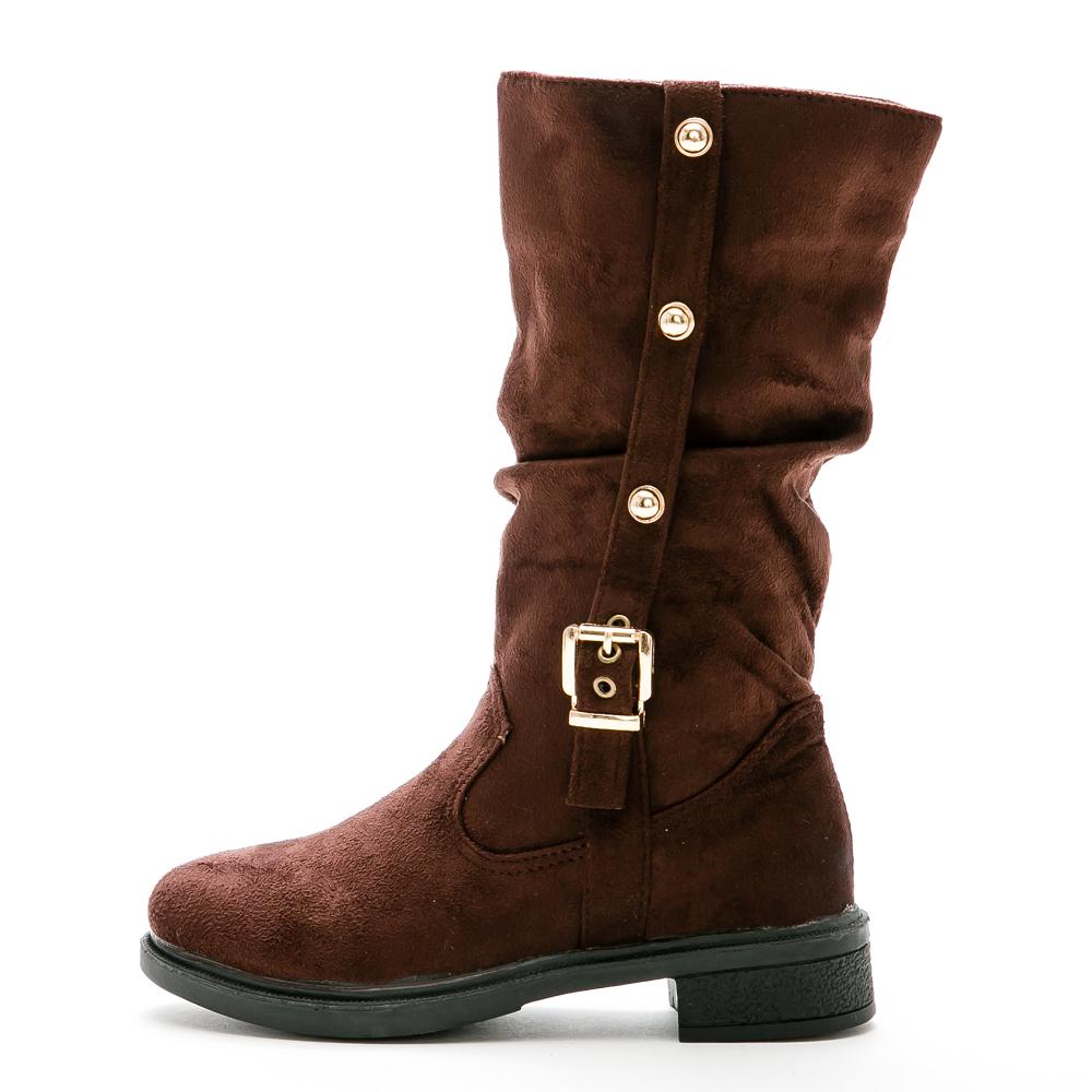 River&Moon中靴-金扣顯瘦抓皺工程騎士靴-咖啡