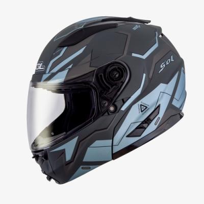 SOL SM-2 猛禽 可掀式全罩式安全帽 (消光灰藍銀 )