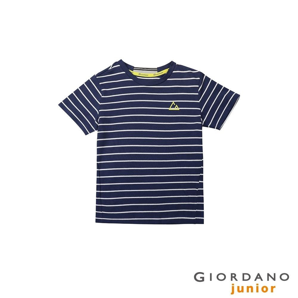 GIORDANO  童裝G-MOTION條紋運動彈力T恤 - 97 海底藍/皎雪