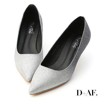 D+AF 絕美光影.漸層閃料亮片尖頭跟鞋*閃黑