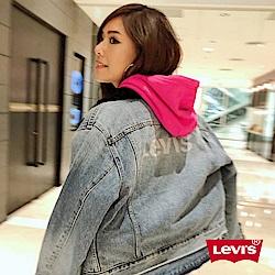 Levis 女款 牛仔外套 背後LOGO 毛領 短版