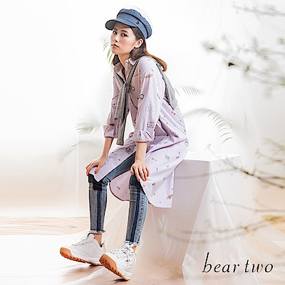 beartwo 文字圖案符號兩件式條紋長版襯衫洋裝(二色)