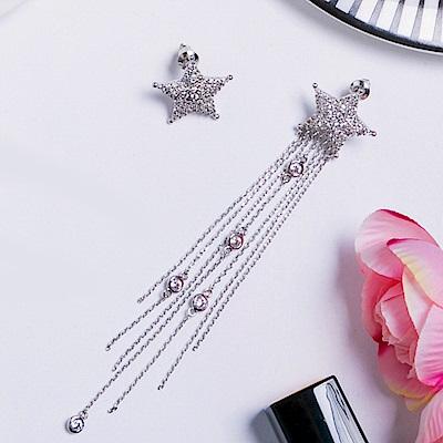 Prisme美國時尚飾品 璀璨水鑽流星 銀色耳環 耳針式