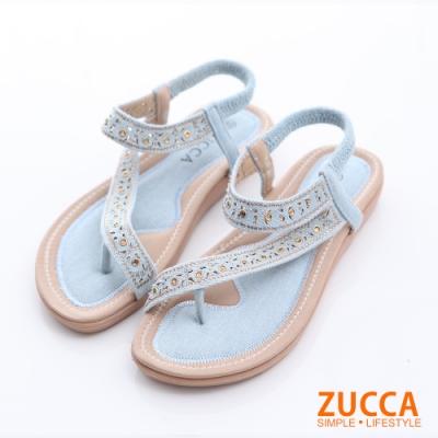 ZUCCA-金屬羅紋T字夾腳涼鞋-水藍-z6306be