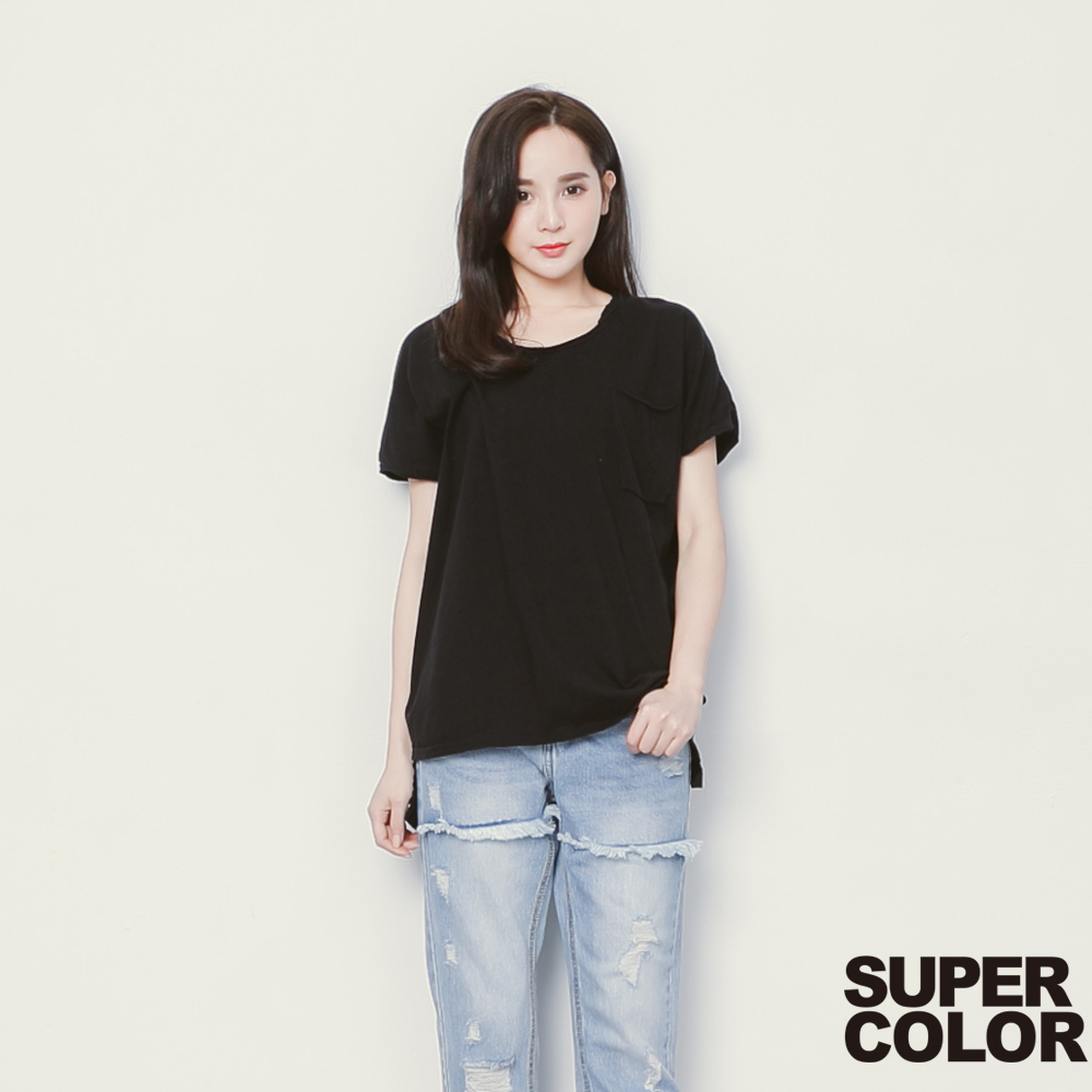 SUPER COLOR 舒適隨興領口不修邊口袋上衣-(時尚黑)